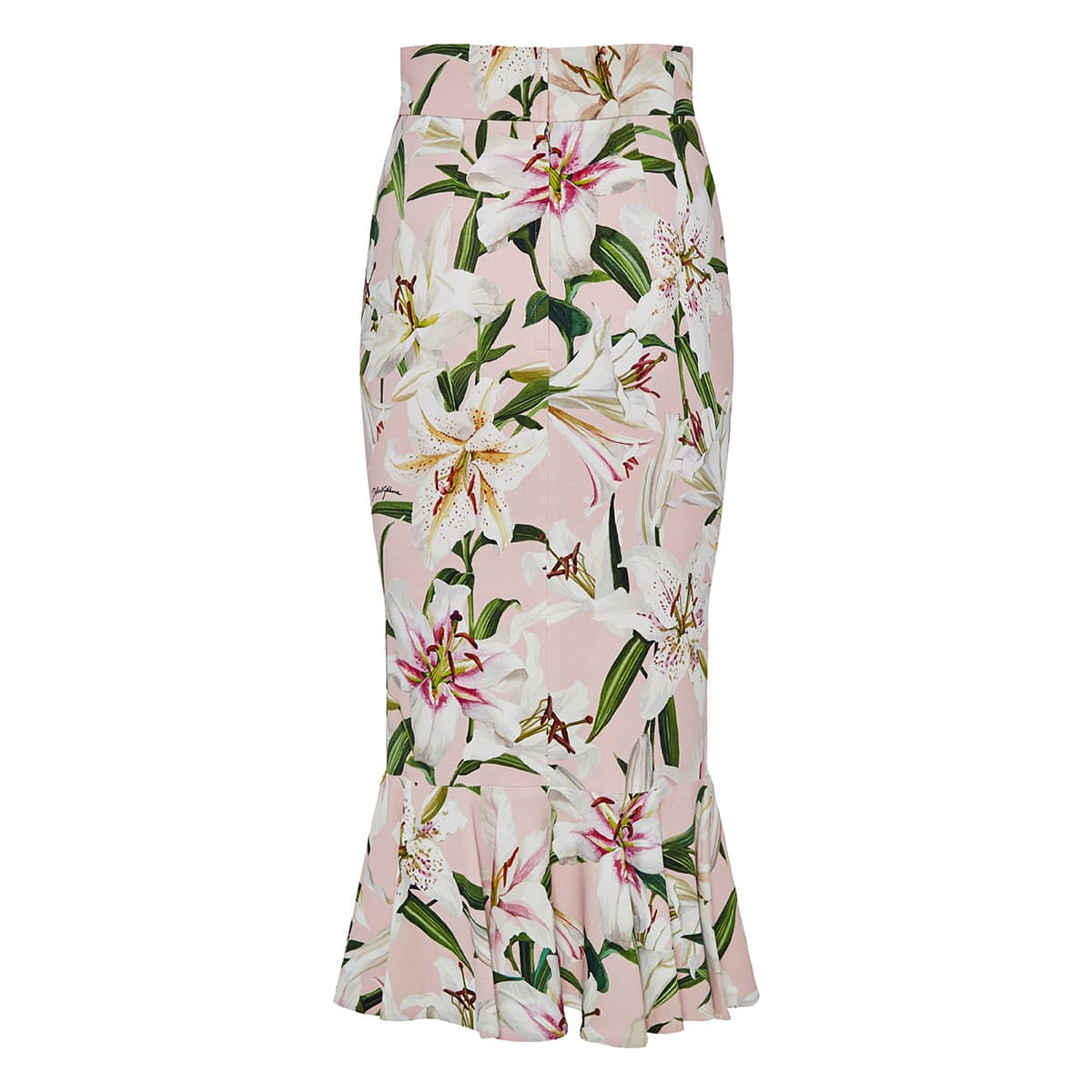 Lily print fluted midi skirt