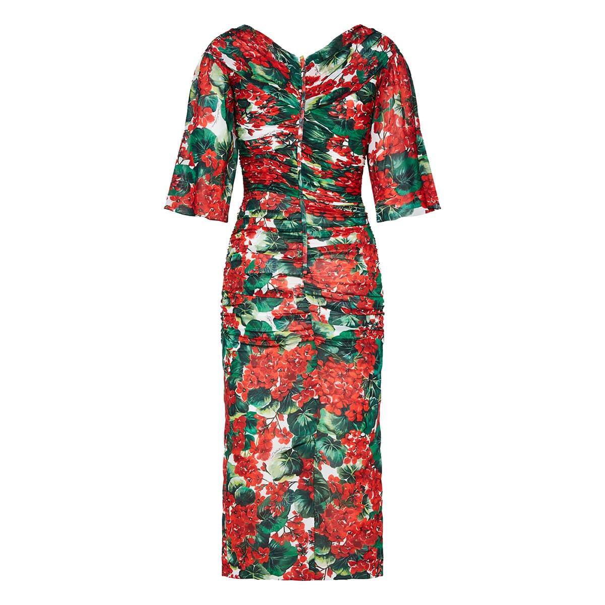 Portofino print ruched midi dress