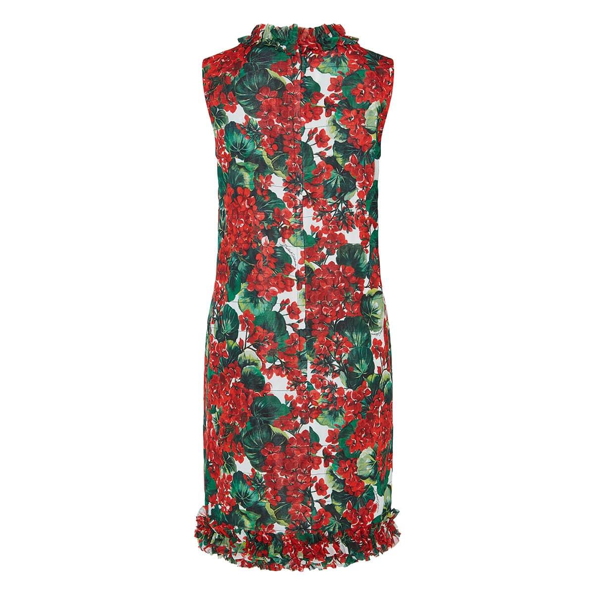 Geranium-print silk dress