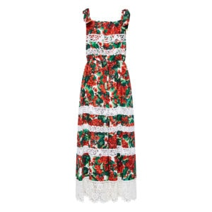 Portofino print lace-paneled tiered dress