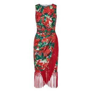 Portofino print fringed midi dress