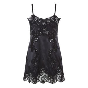 Lace-paneled satin slip dress