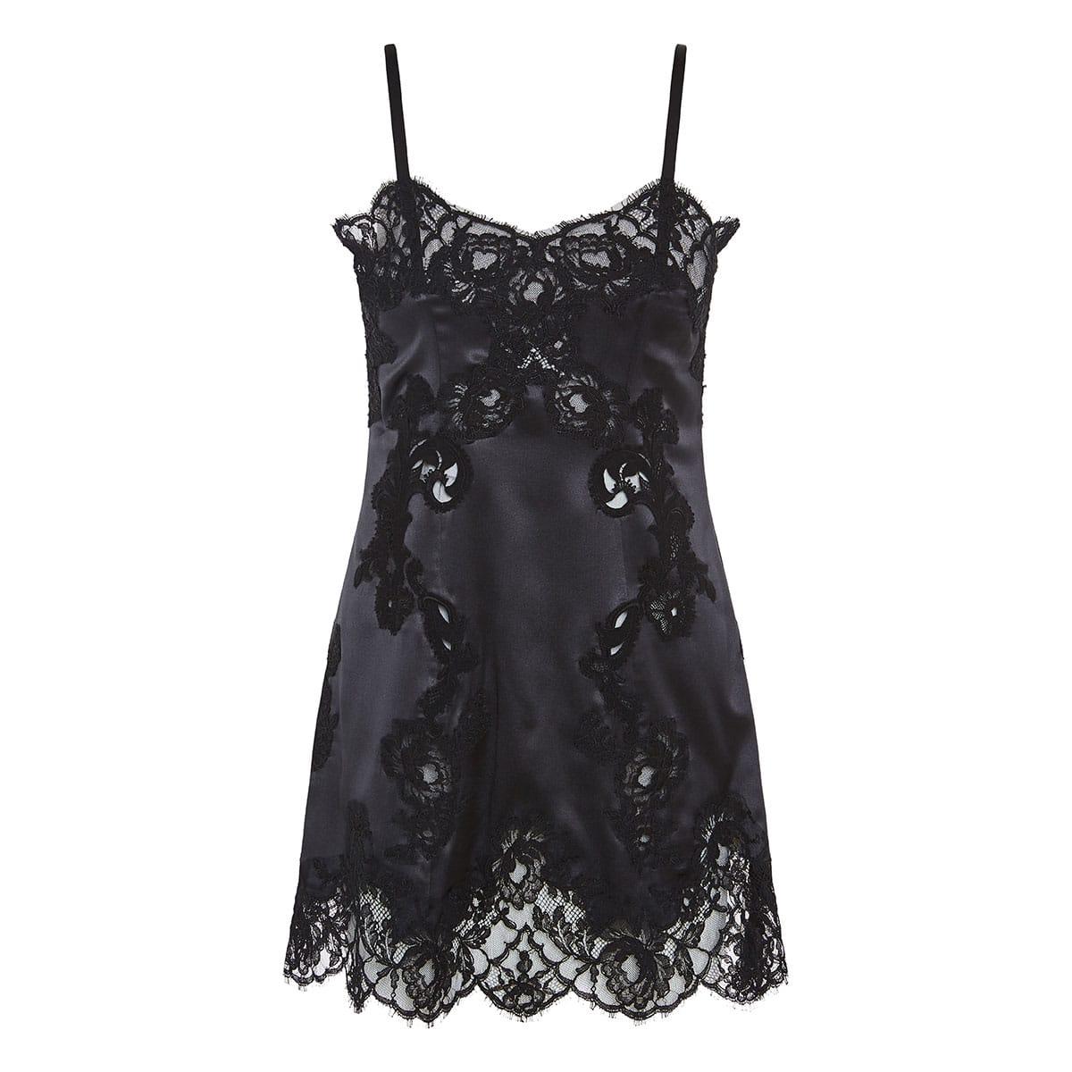 Lace-paneled satin slip dress