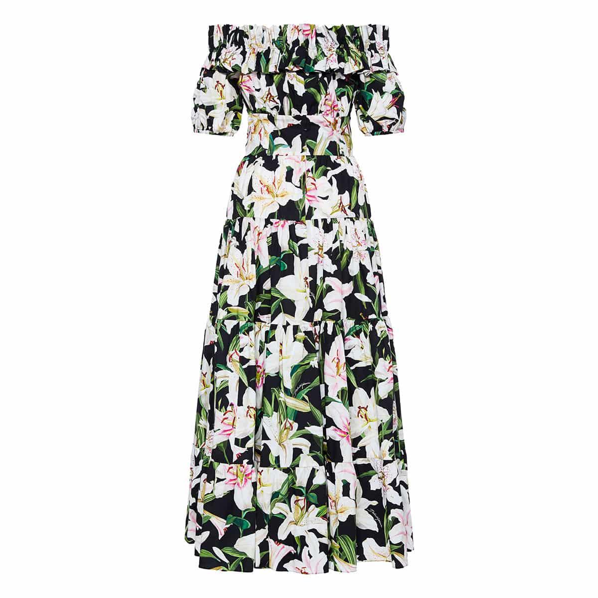 Off-the-shoulder floral tiered dress