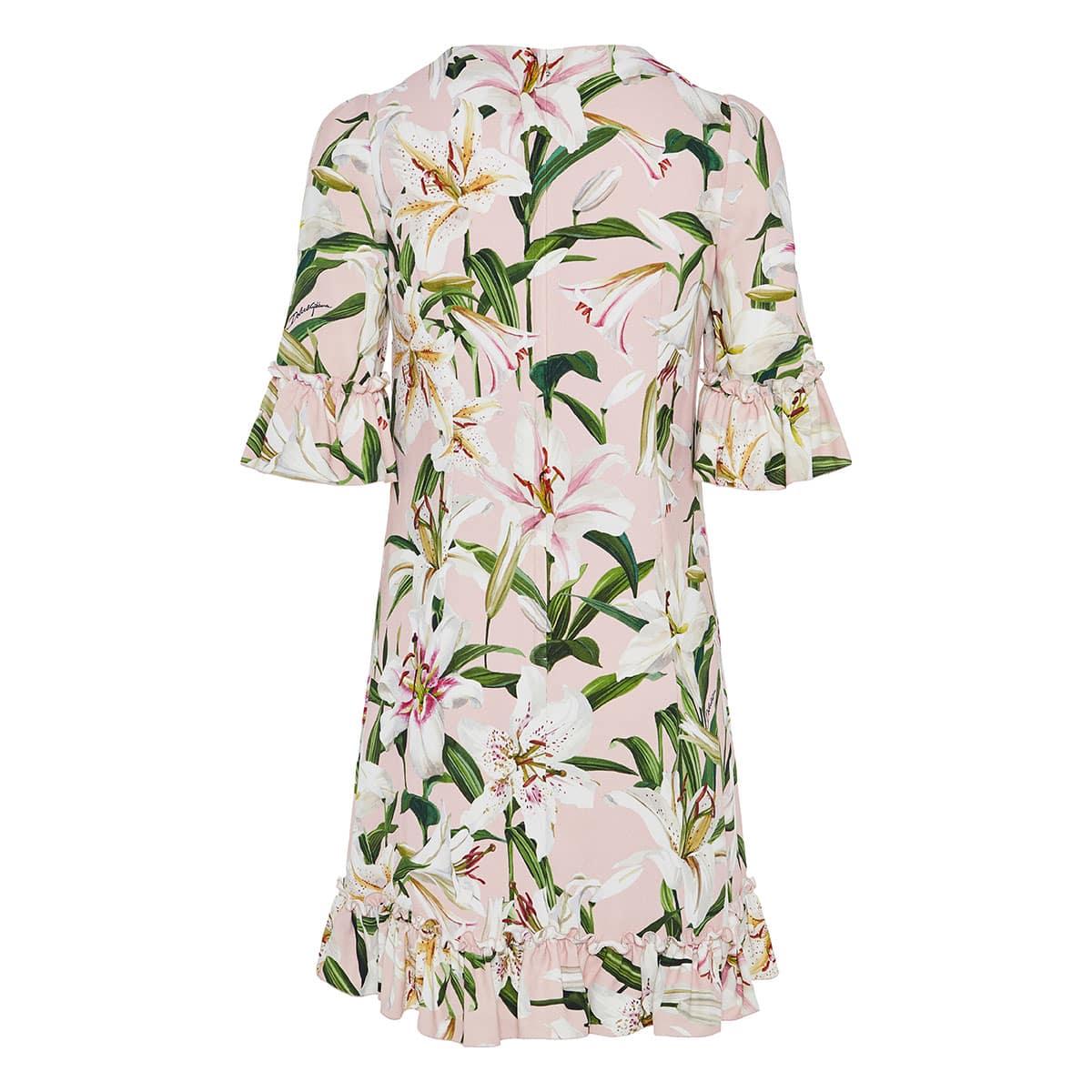 Lily-print ruffle-trimmed mini dress