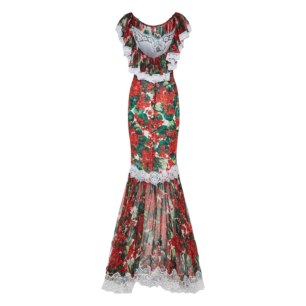 Portofino print lace-trimmed fluted gown