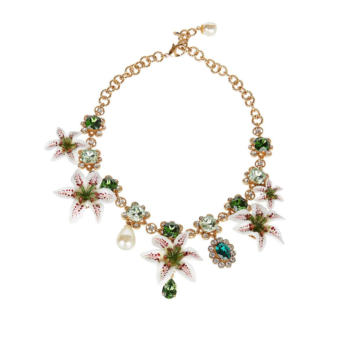 Lily and crystal-embellished chain necklace