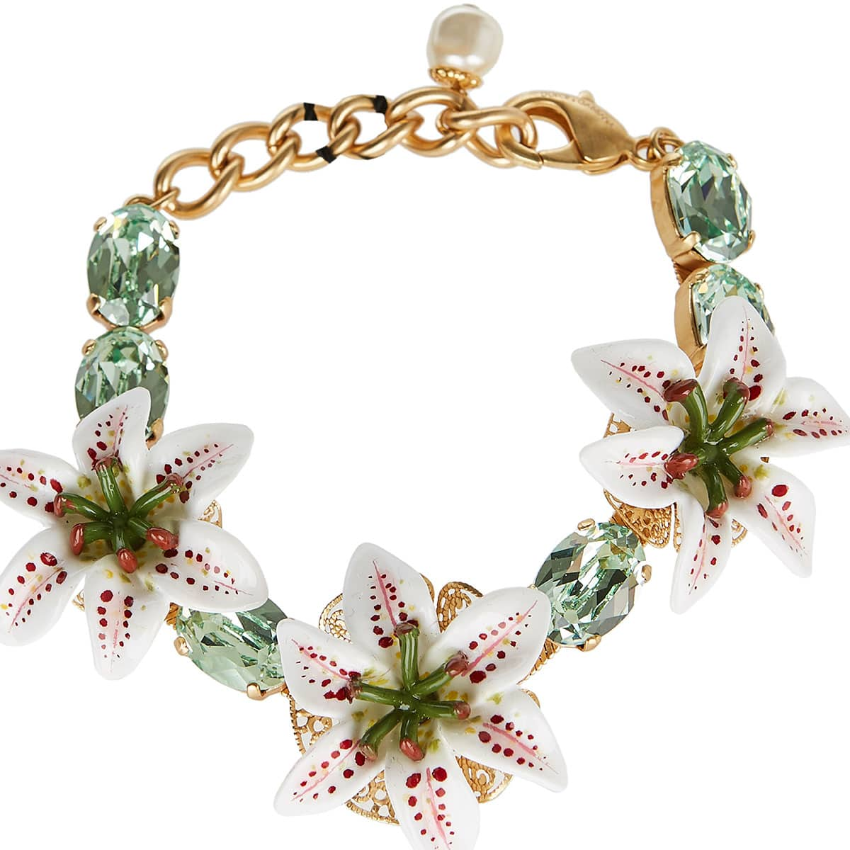Lily and crystal embellished chain bracelet