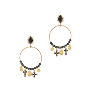 Charm-embellished hoop earrings