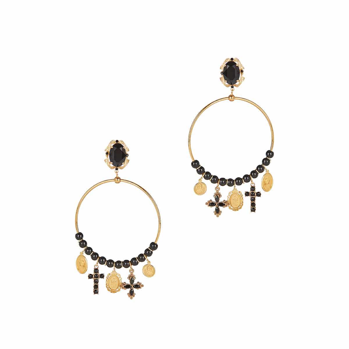 Charm-embellished hoop earrings
