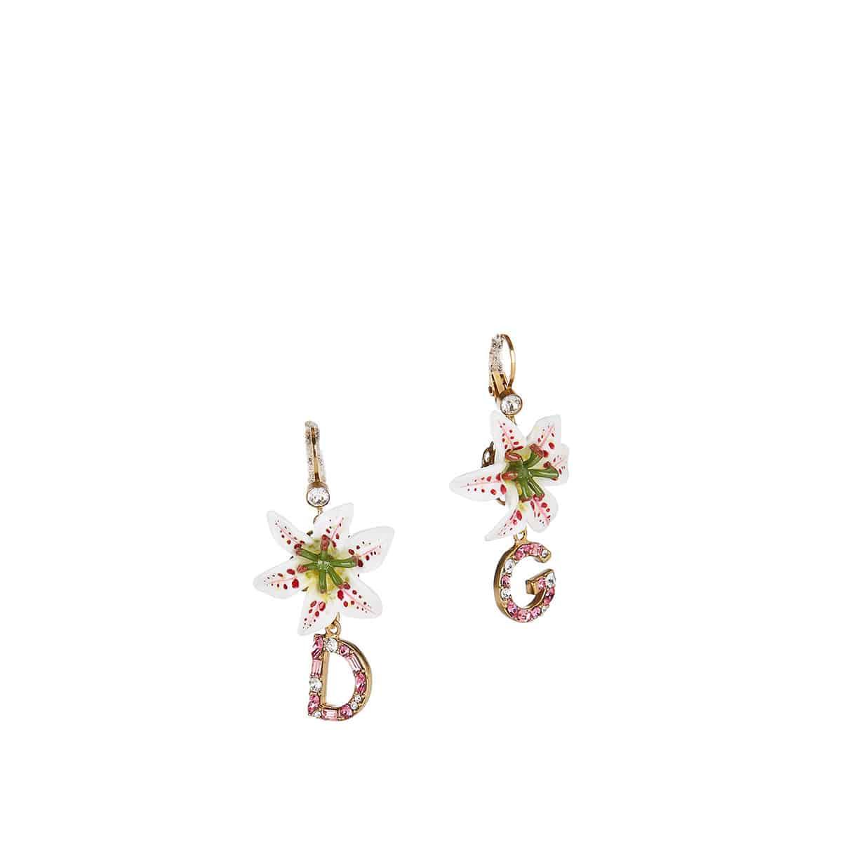 Crystal-embellished logo drop earrings