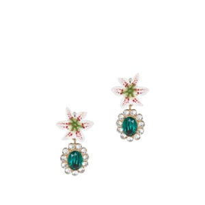 Crystal-embellished resin drop earrings
