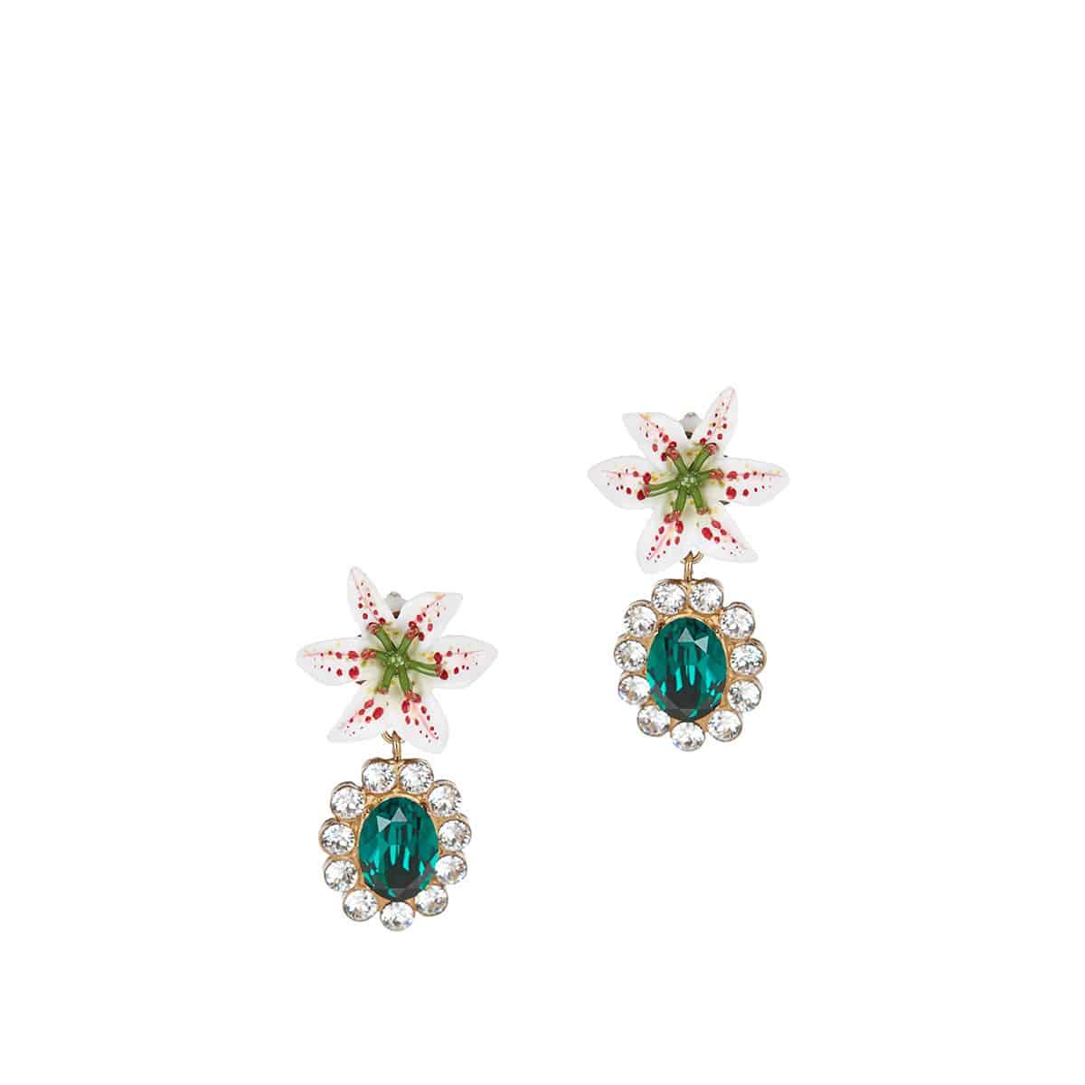 Crystal-embellished resin drop earrings