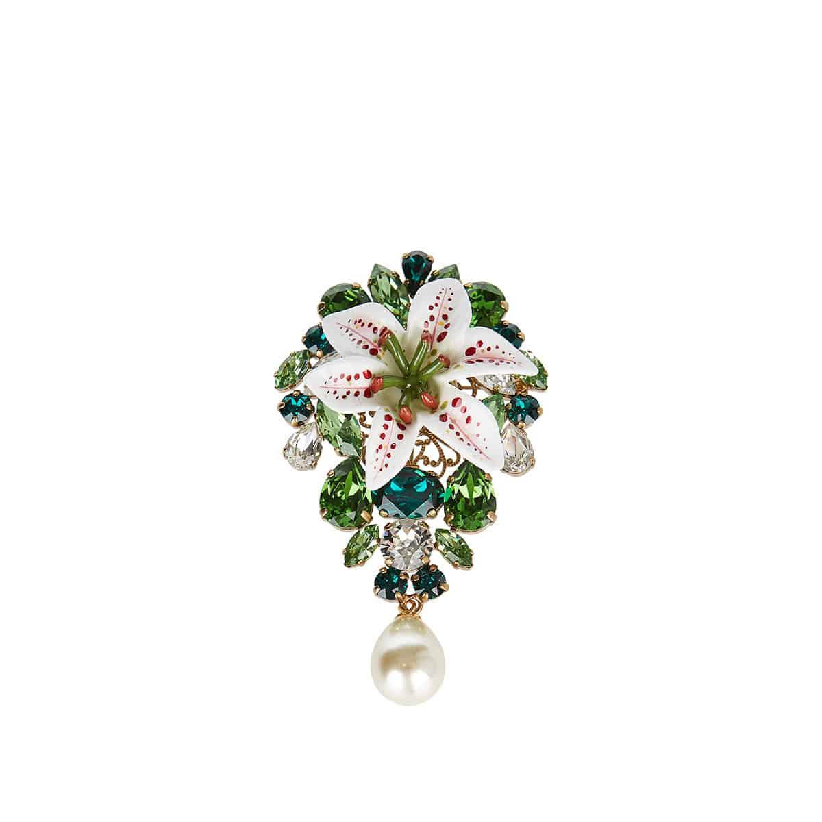Crystal-embellished resin brooch
