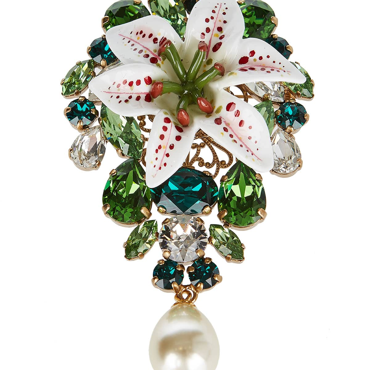 Crystal-embellished resin brooch