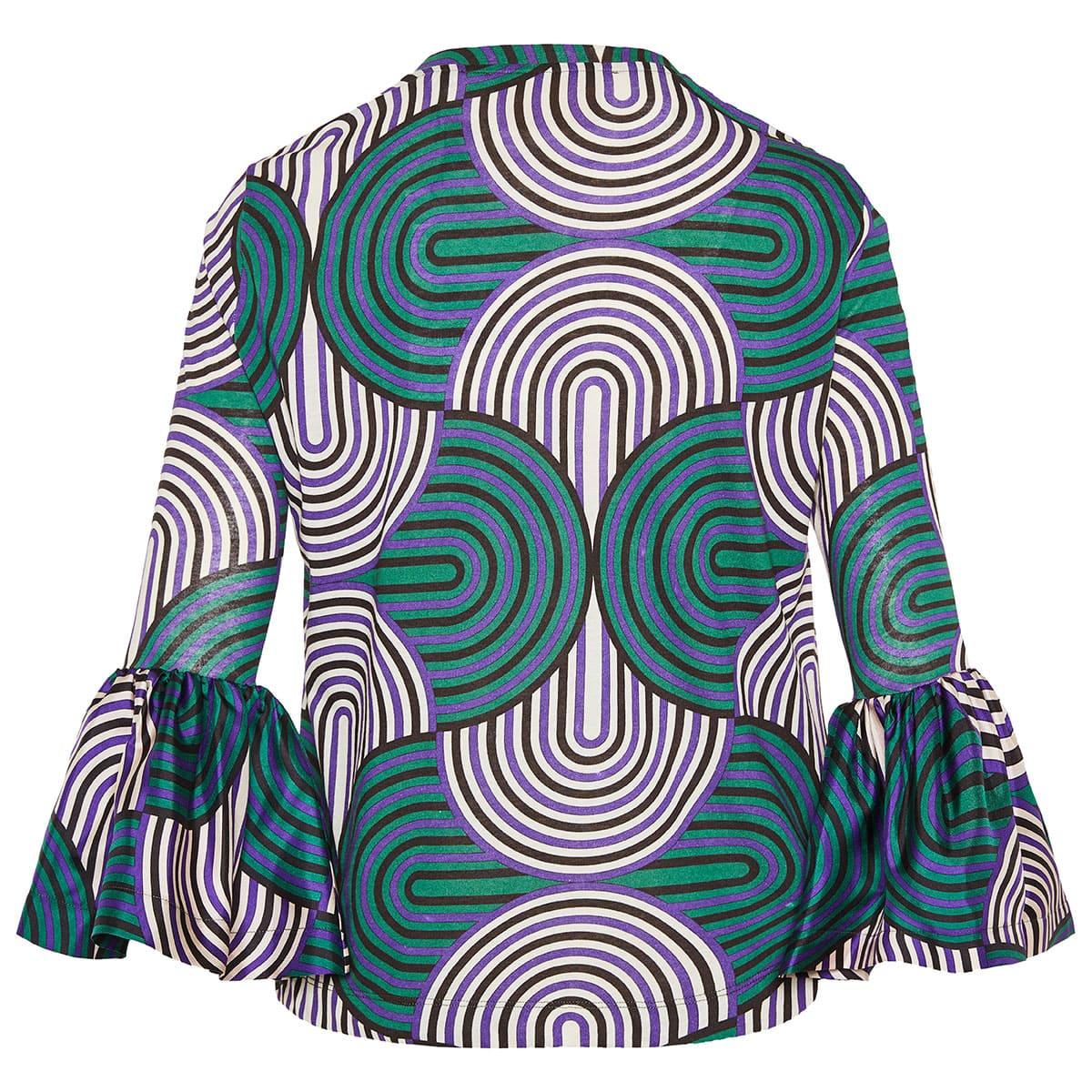 Gemini ruffled-cuff printed blouse