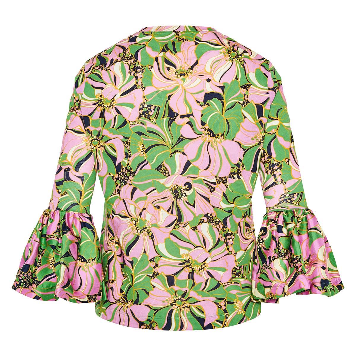 Gemini ruffled-cuff floral blouse