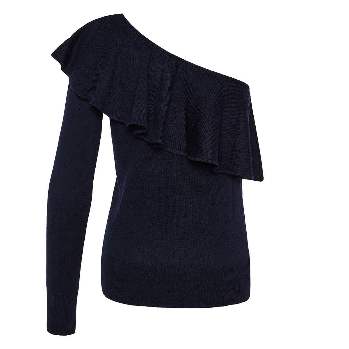 One-sleeved ruffled sweater