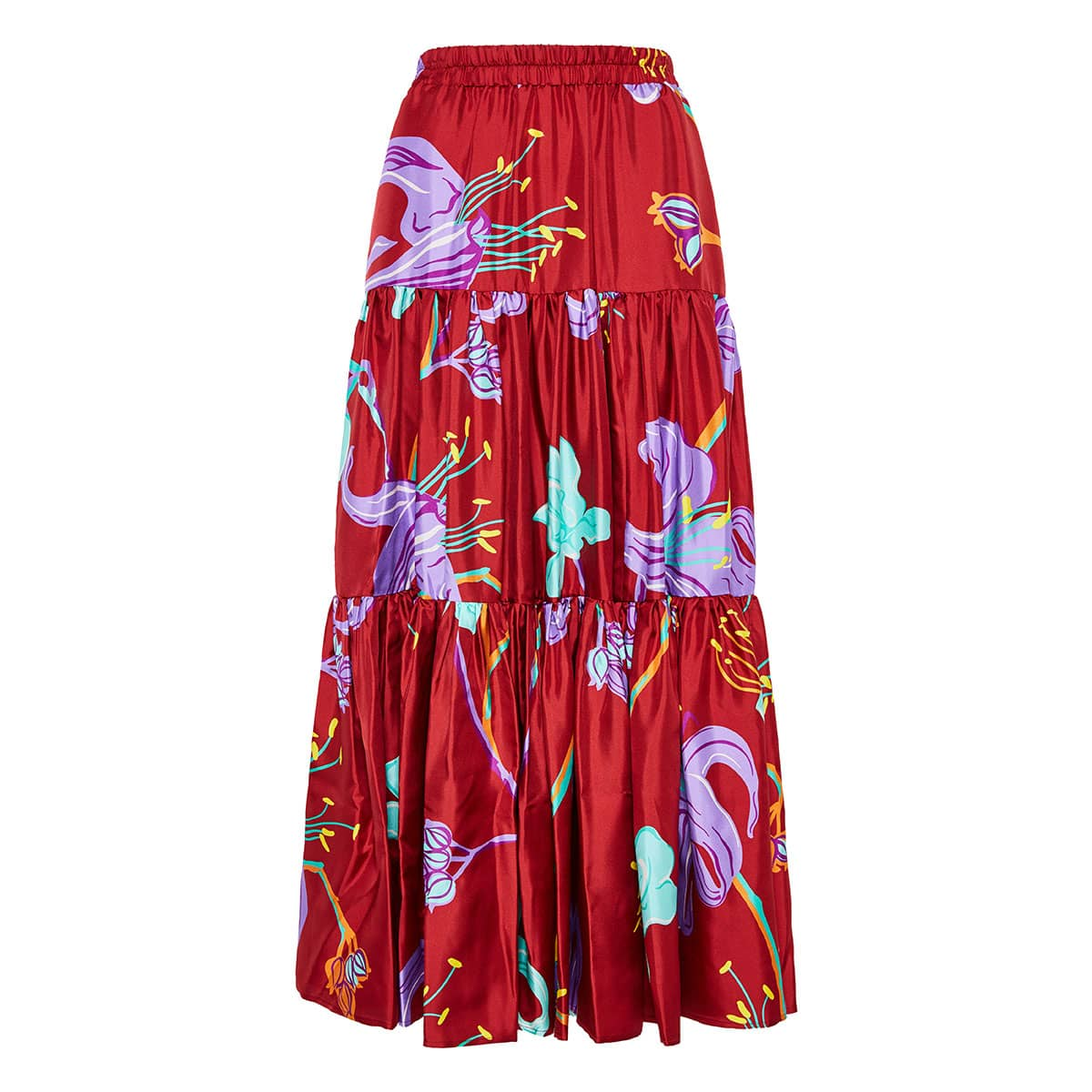 Big printed silk tiered skirt
