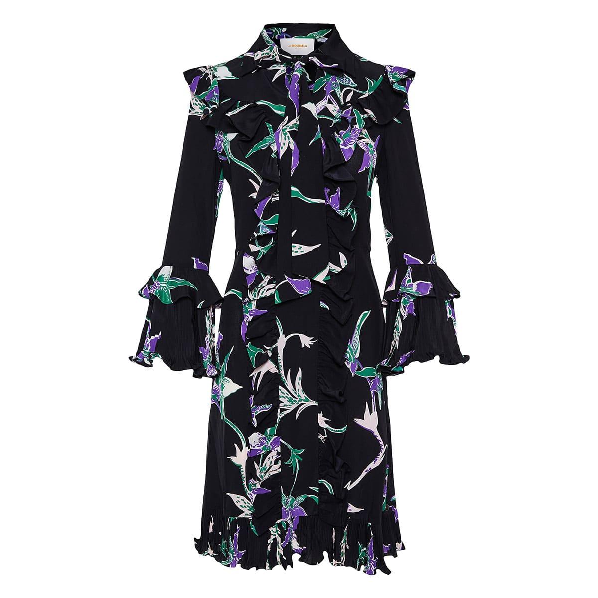 Fancy ruffle-trimmed floral dress