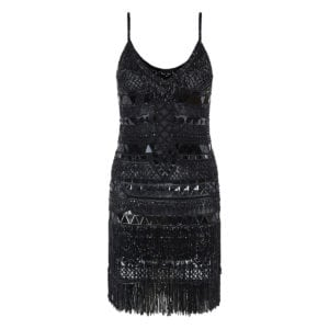 Crystal-embellished fringed mini dress
