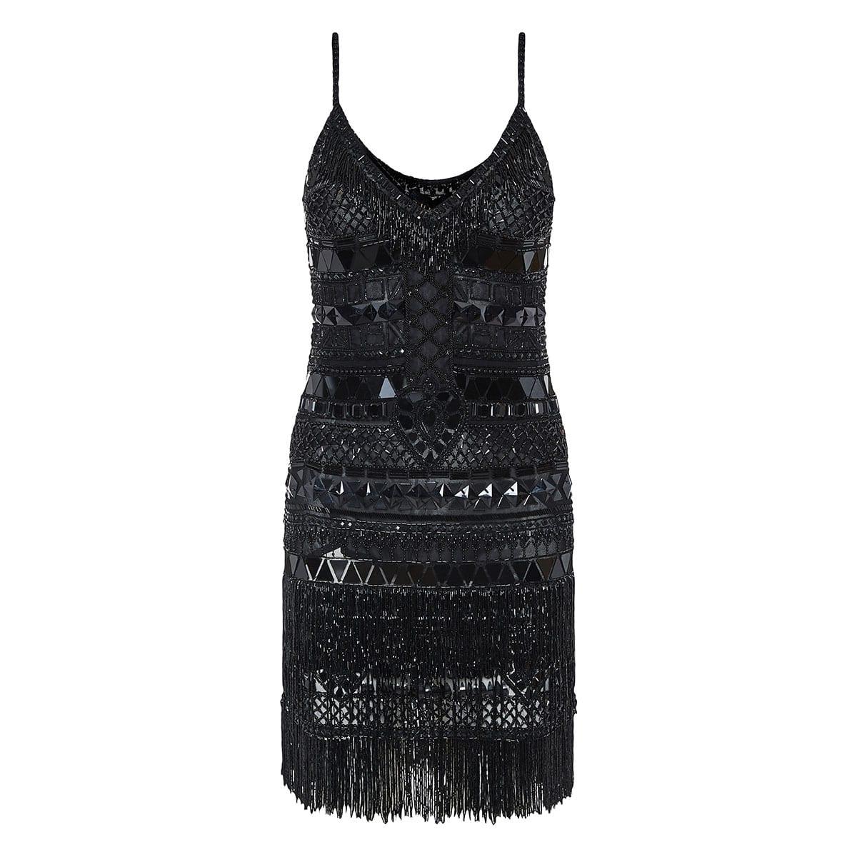 Crystal-embellished fringed mini dress