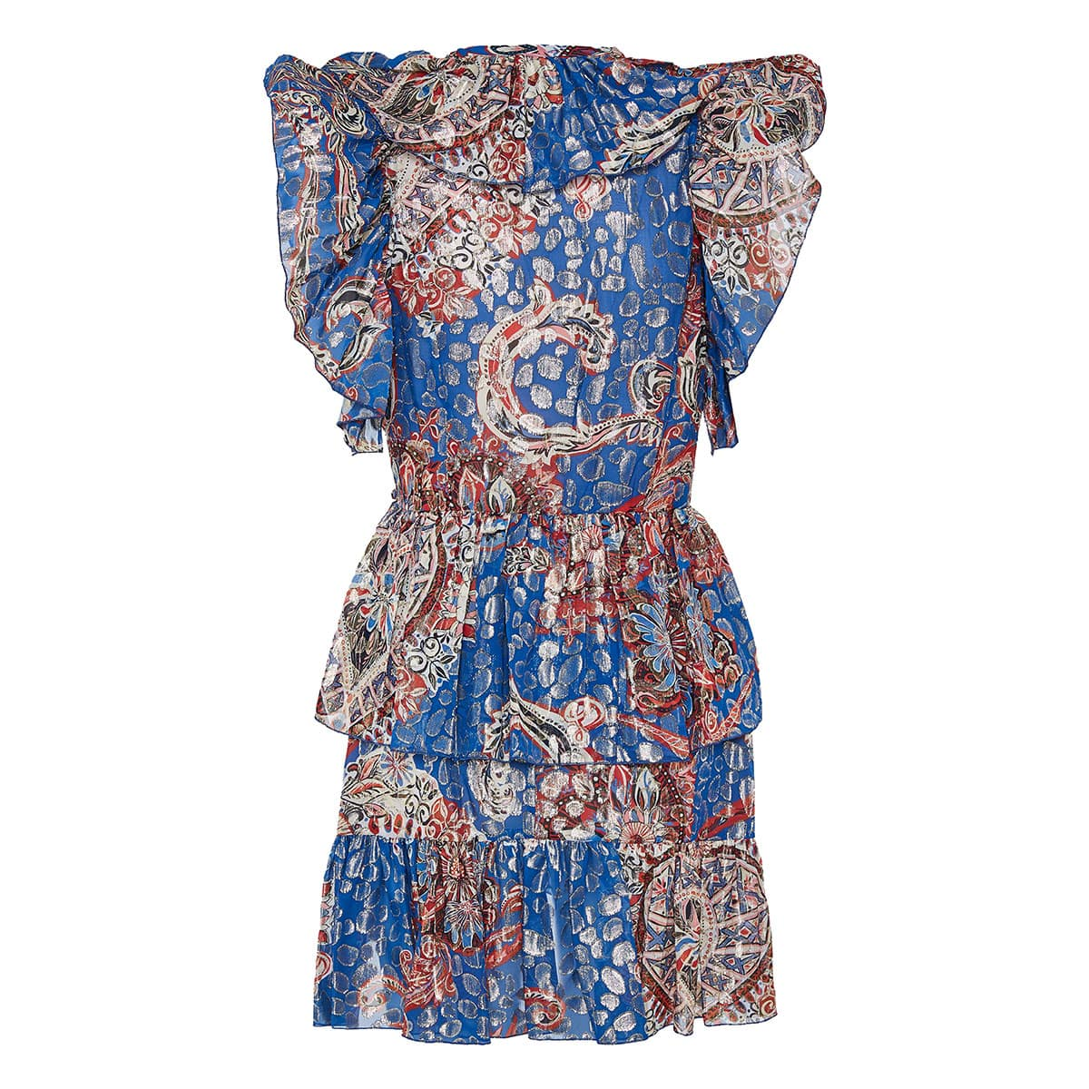 Printed ruffle-trimmed mini dress