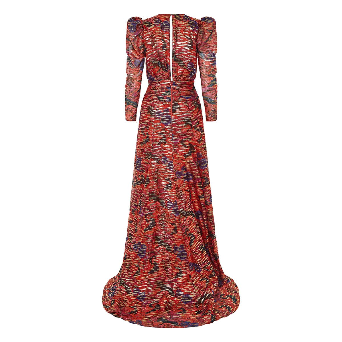 Silk and lurex printed gown