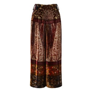 Patchwork printed cropped velvet trousers