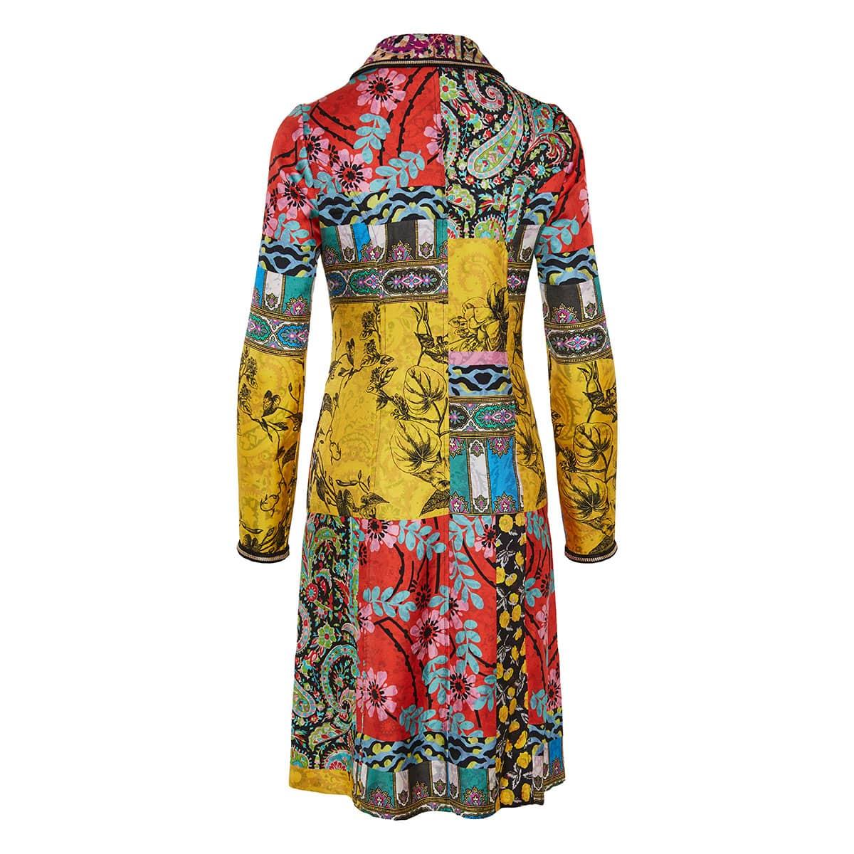 Cheshire patchwork printed silk coat