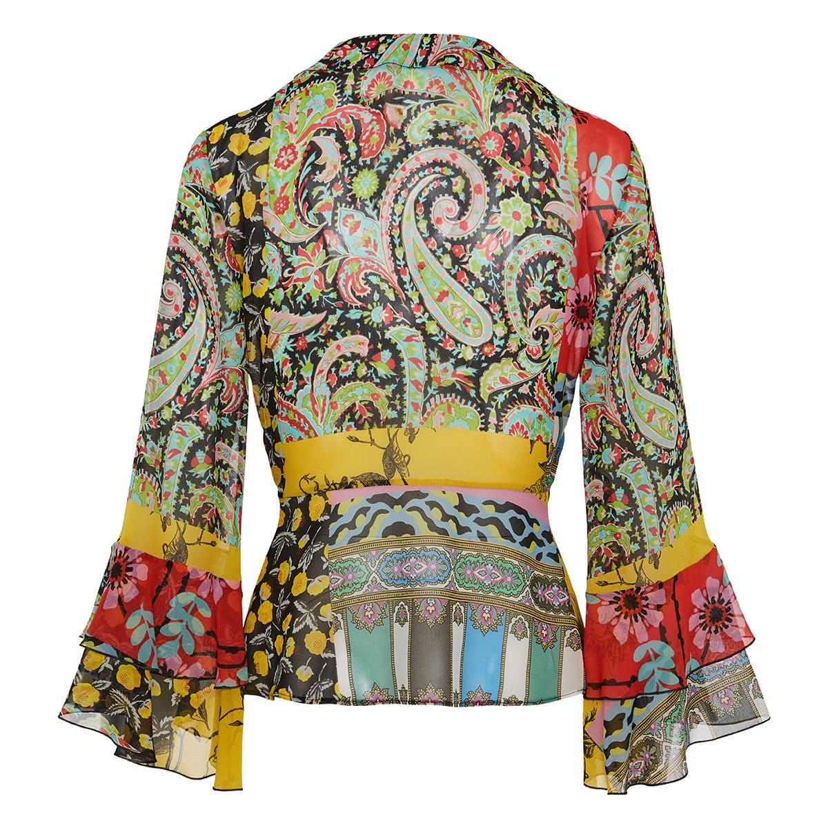 Suffolk patchwork-print wrap blouse