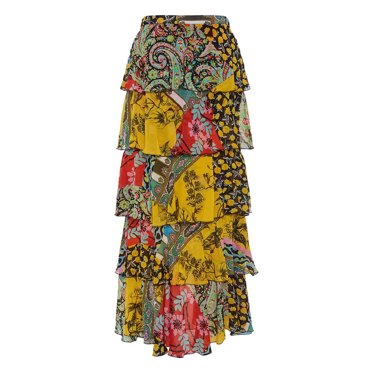 Norfolk printed long tiered skirt