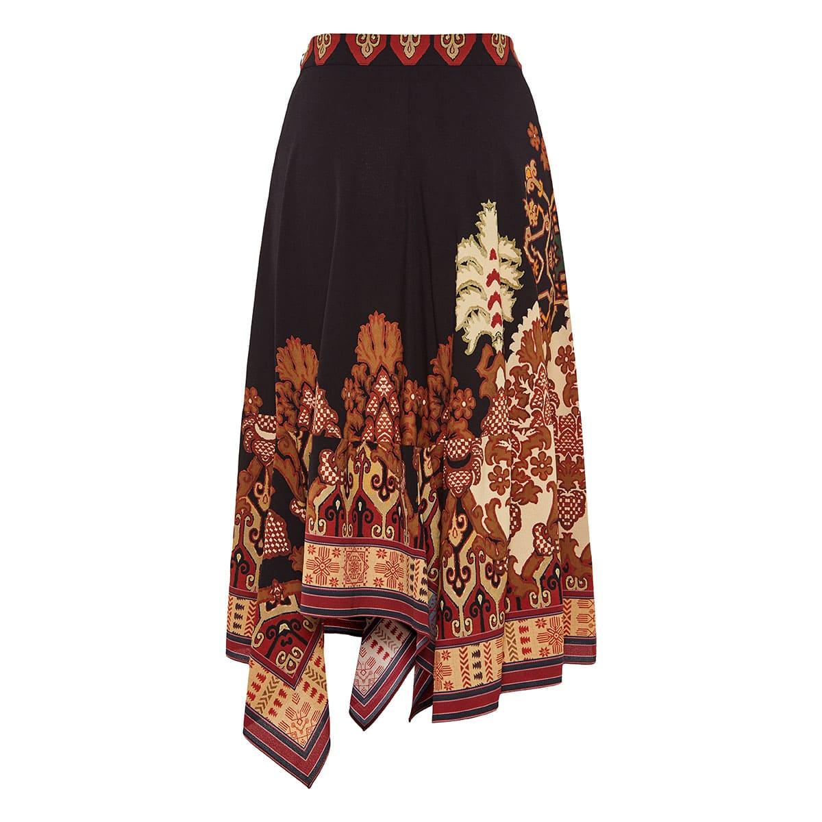 Printed asymmetric midi skirt
