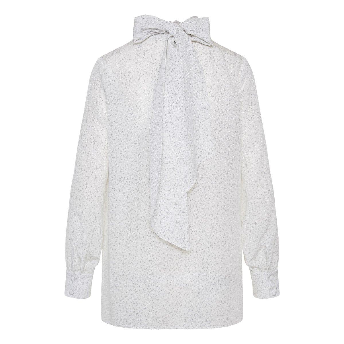 Bow-tie crepe de chine blouse