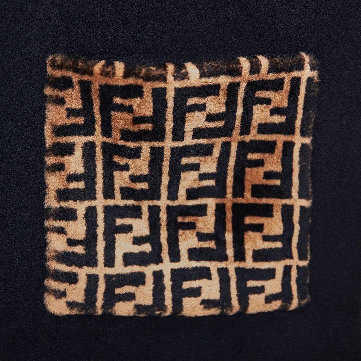 FF fur-trimmed cashmere scarf