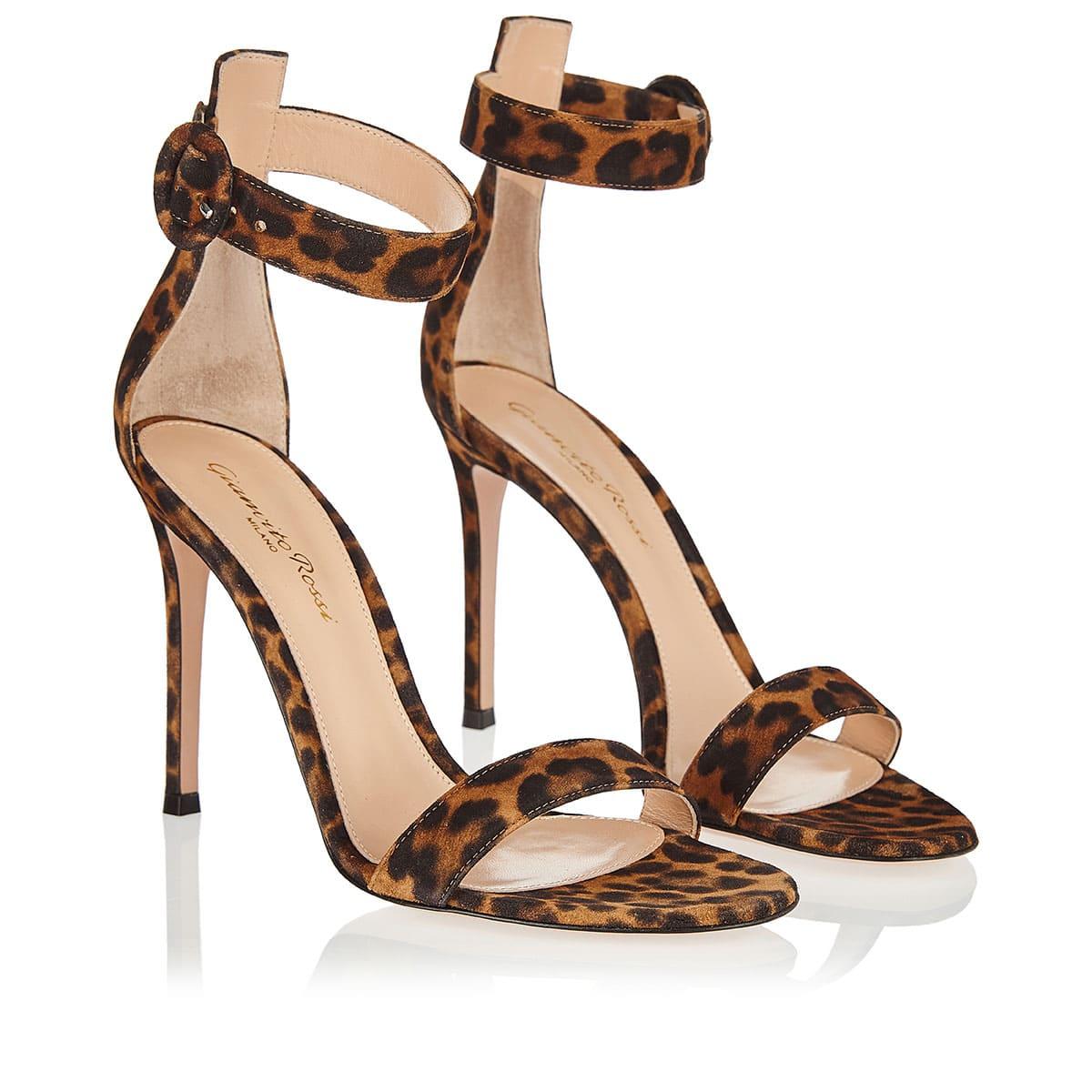 Portofino 105 leopard suede sandals