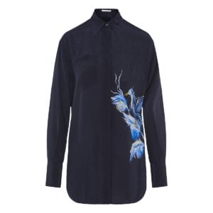Bird-print silk-crepe shirt