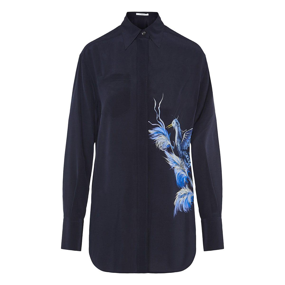 Bird-print silk-crepe shirt