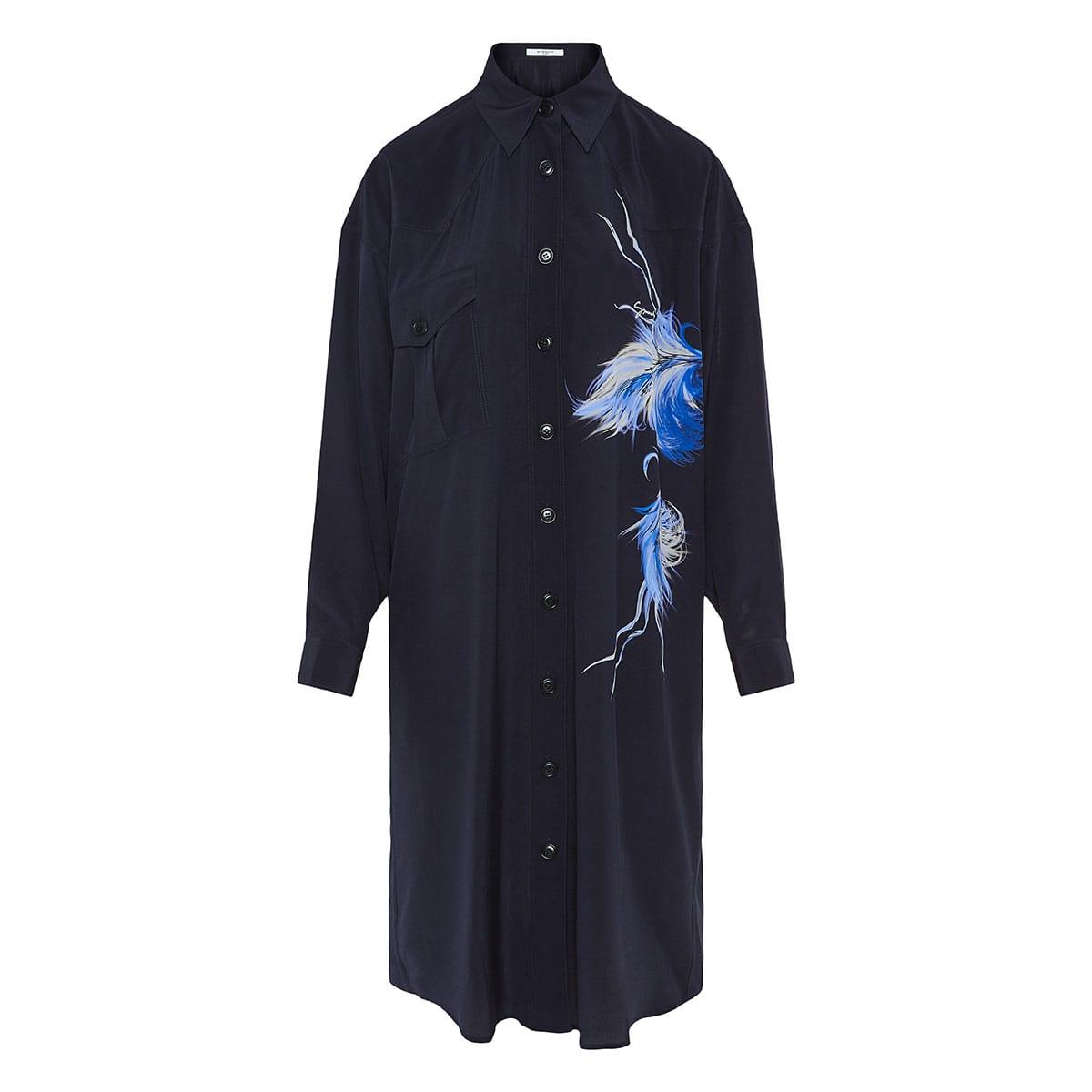 Bird-print oversized shirt dress