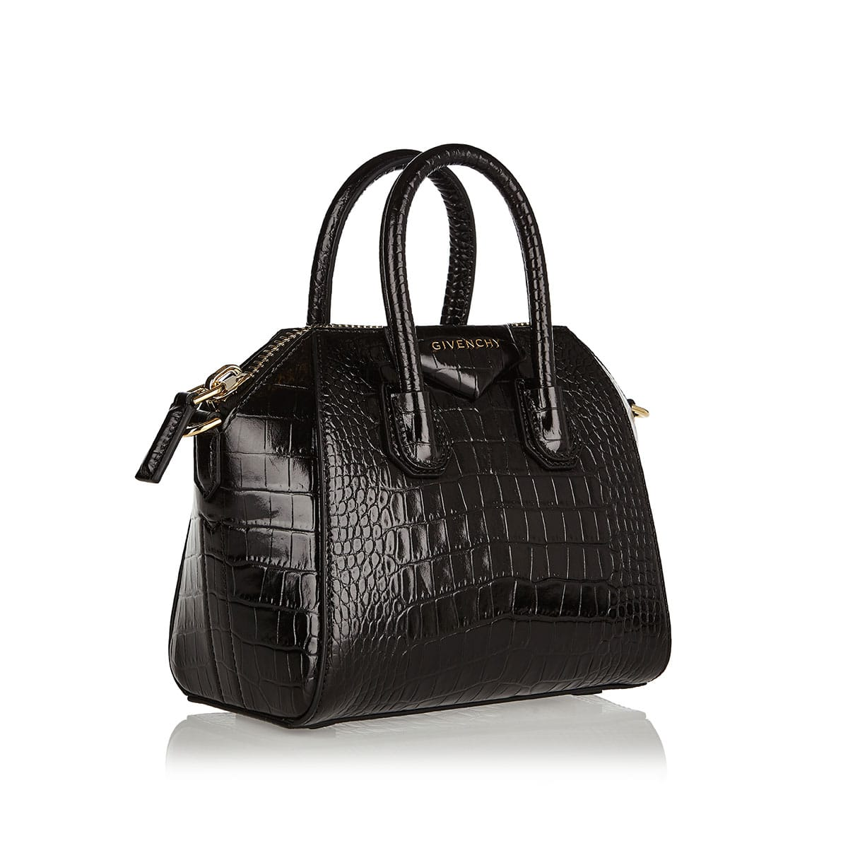 Antigona Mini croc-effect leather tote