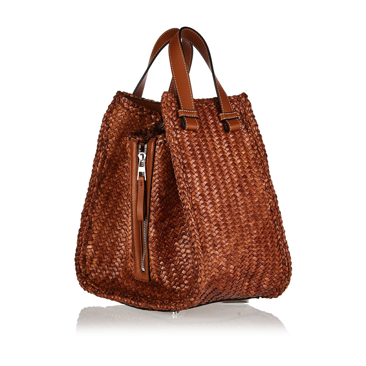 Hammock medium leather-woven bag