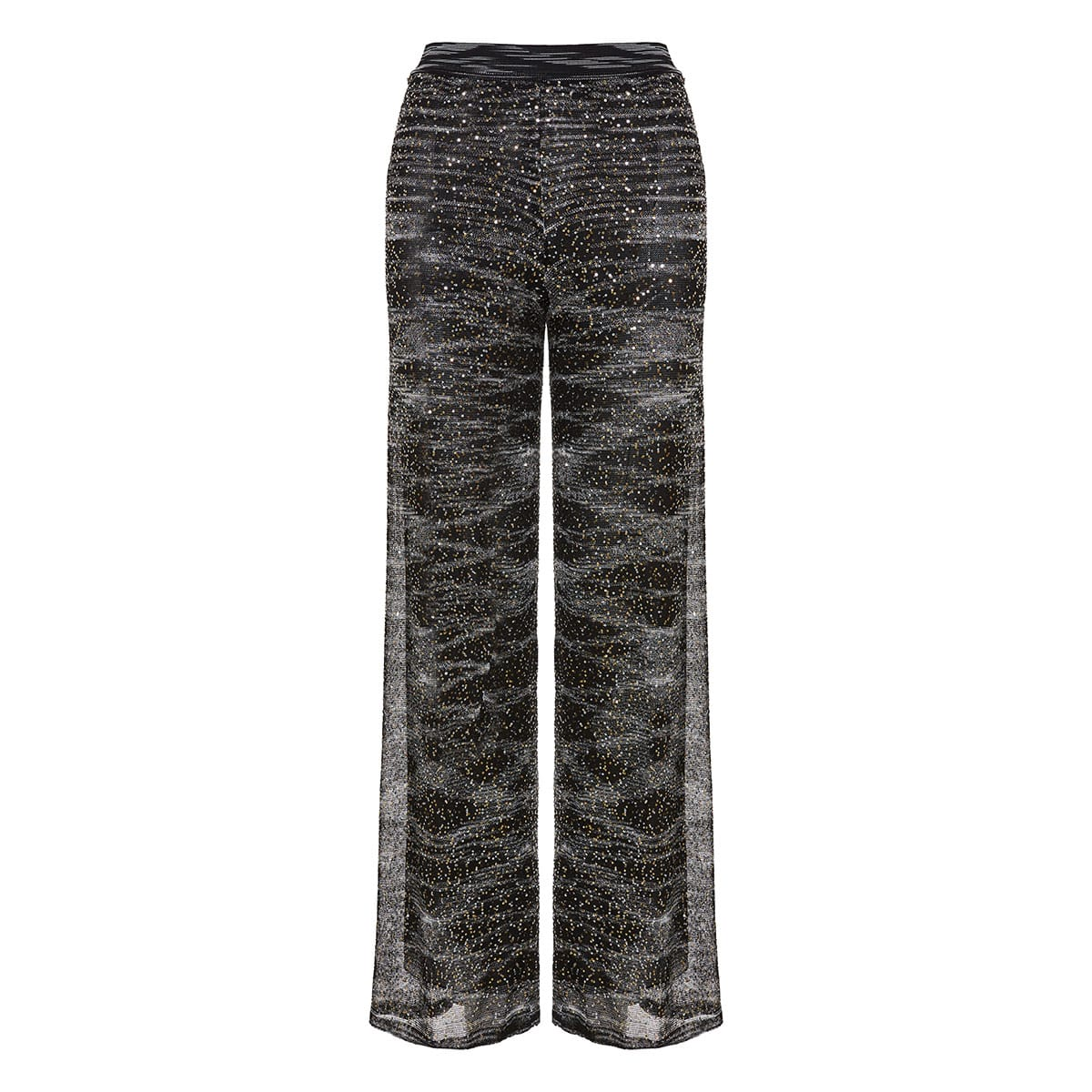 Sequin knitted wide-leg trousers