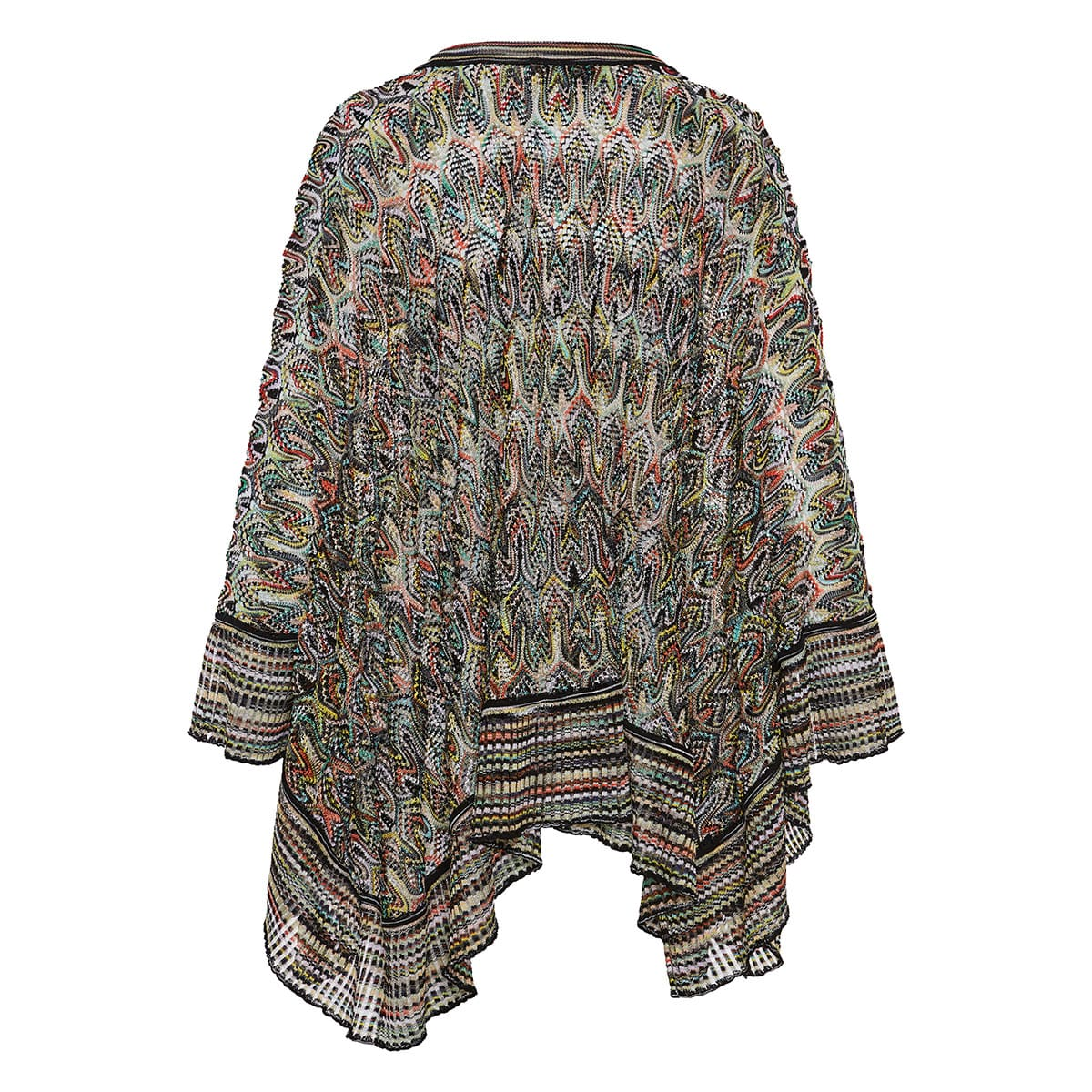 Printed crochet-knitted oversized blouse