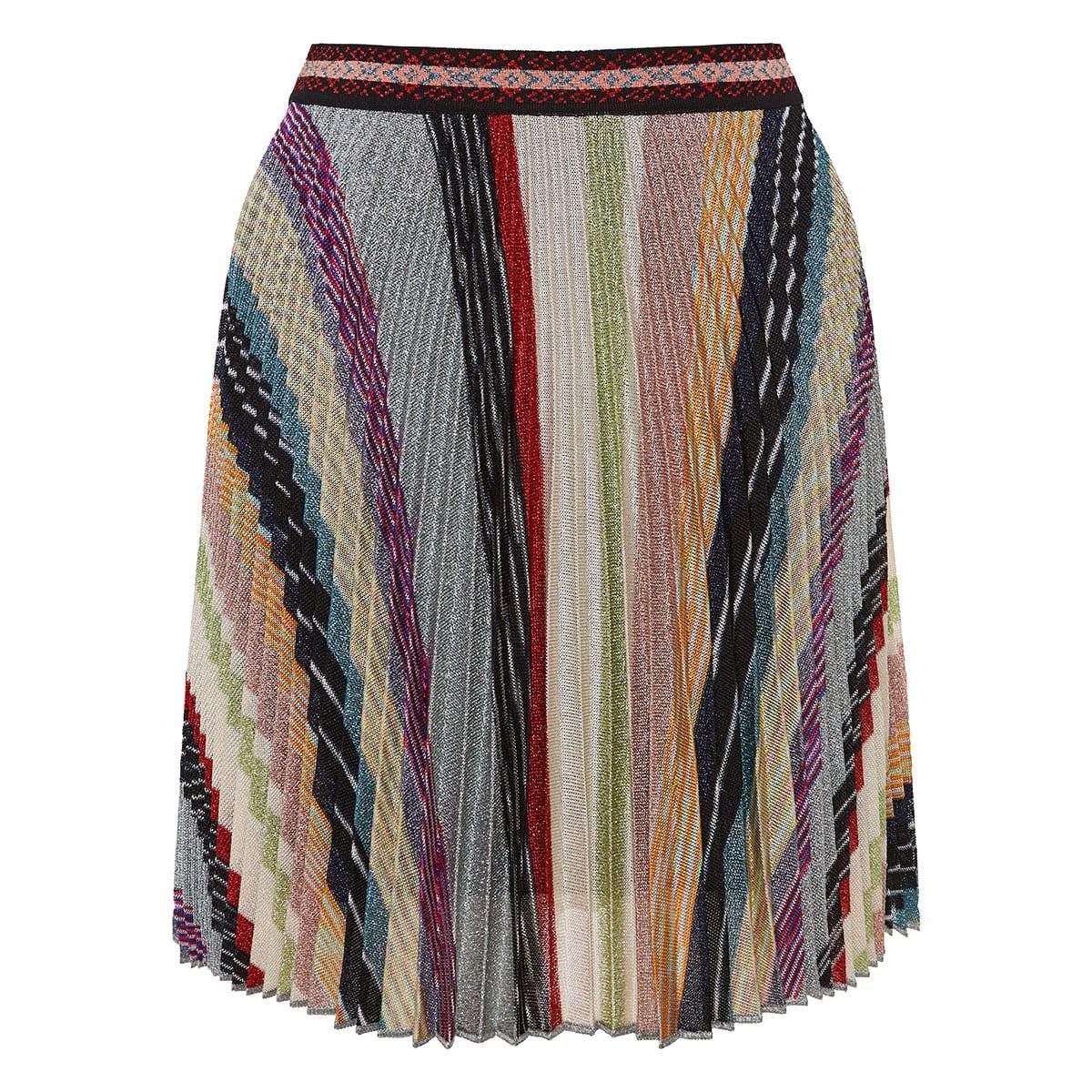 Printed lurex pleated mini skirt