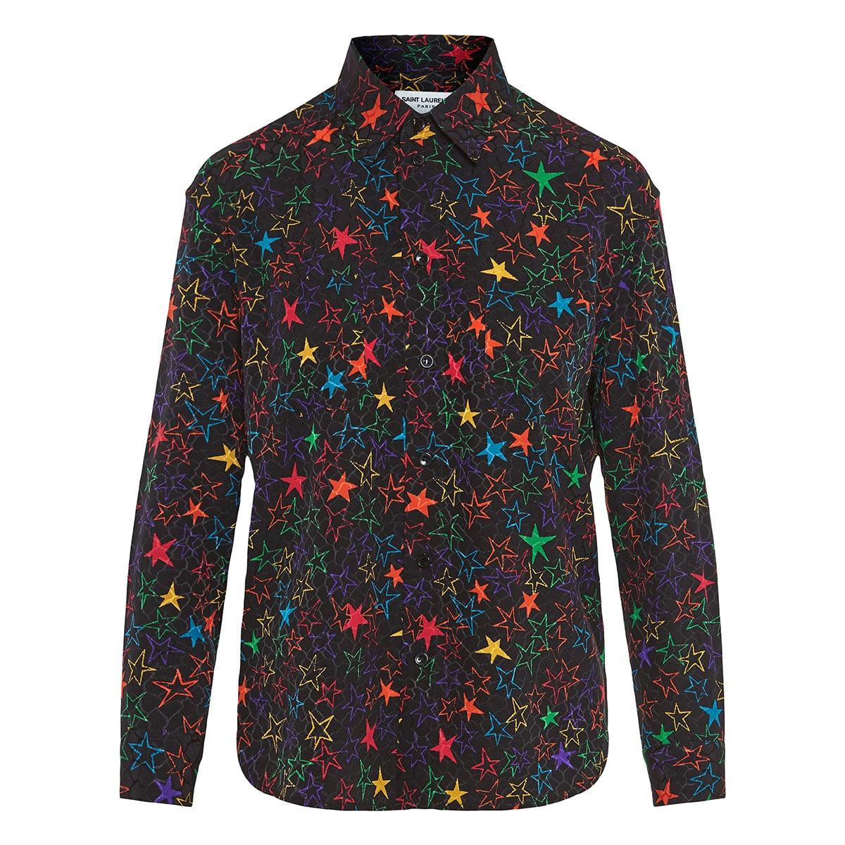 Star-print jacquard silk shirt