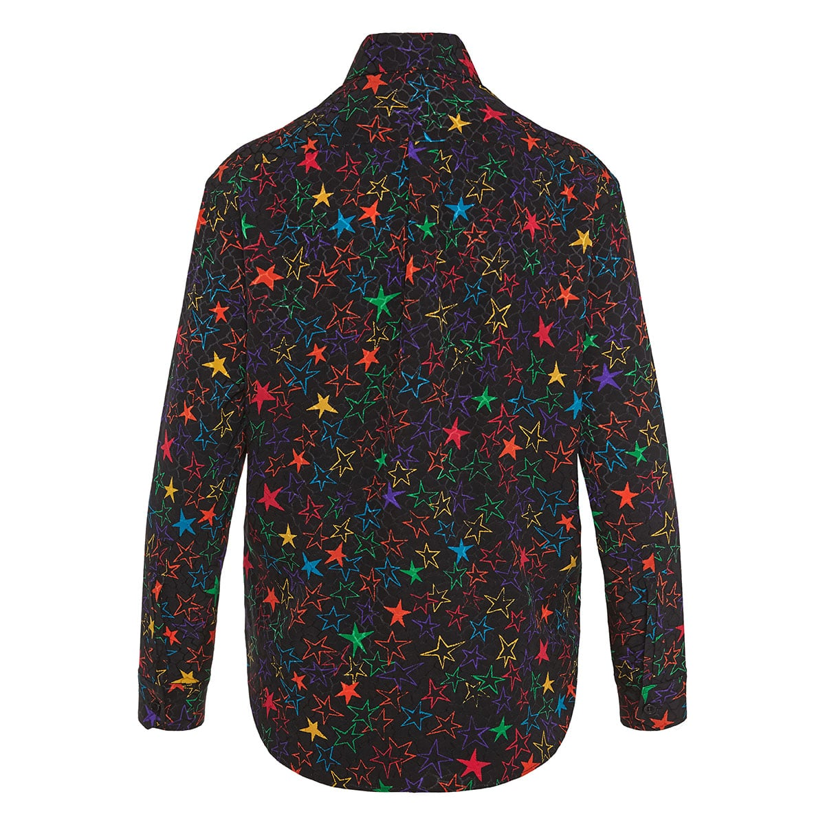 Star-print jacquard silk shirt