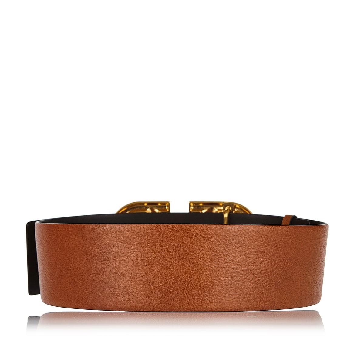 V-logo wide leather belt