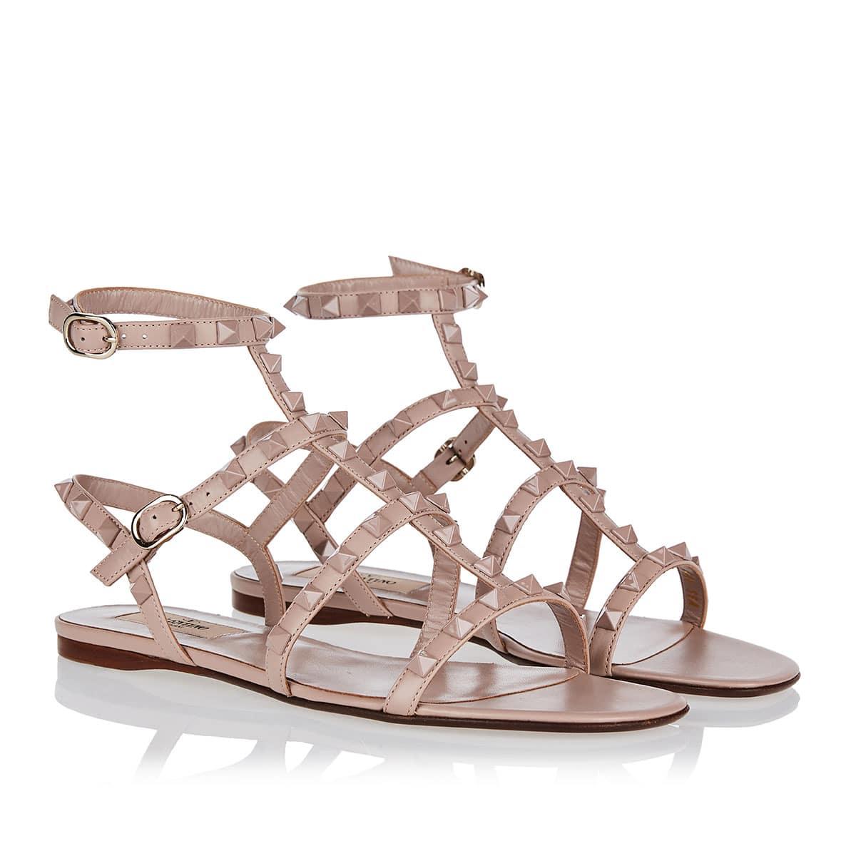 Rockstud leather sandals
