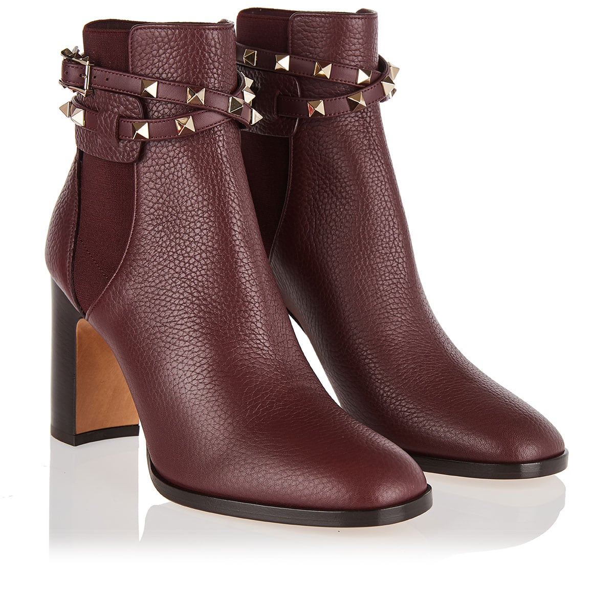 Rockstud leather ankle boots