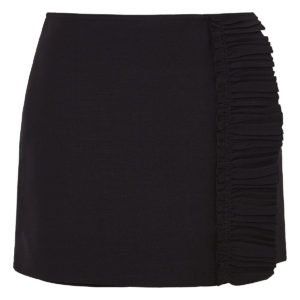 Ruffle-paneled wool skort